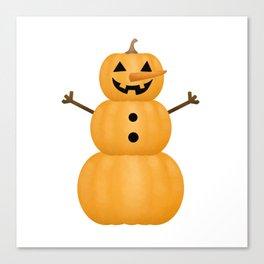 Pumpkin Snowman Canvas Print