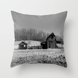 Days Gone By - Old Arkansas Barn in Black and White Throw Pillow