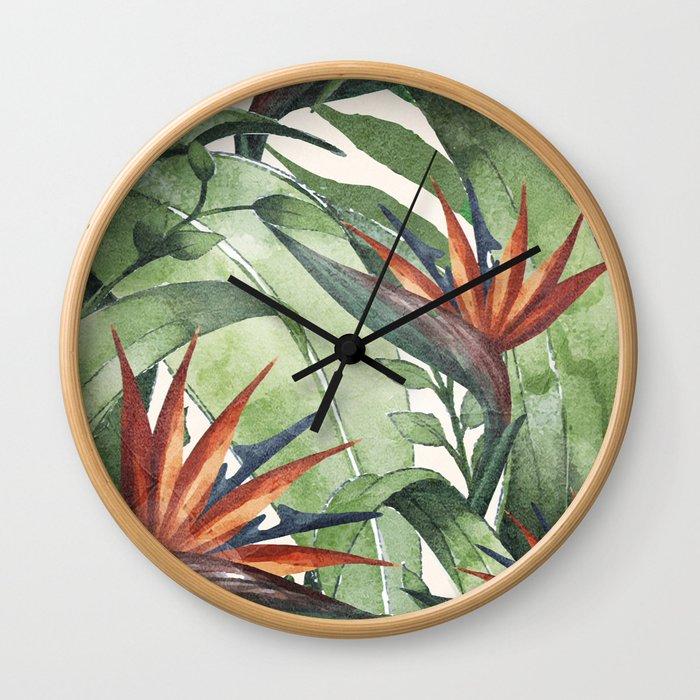Tropical Flora I Wall Clock