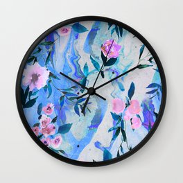 Floral Marble Swirl Wall Clock