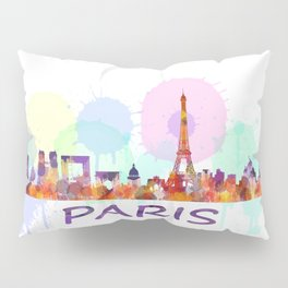 Paris City Skyline HQ, Watercolor Pillow Sham