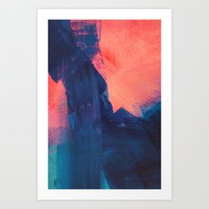 Falling into blue abstract Art Print
