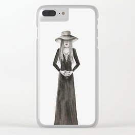 """Southern Gothic Witch Coven Watercolor; """"Hex"""" Clear iPhone Case"""