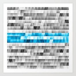 Blue Stripe Geometric Pattern Art Print