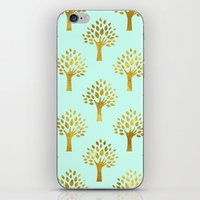 gold foil iPhone & iPod Skins featuring Mint Gold Foil 02 by Aloke Design