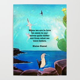 When We Are In Love Inspirational Quote With Blue Ocean Flying Birds Painting Poster