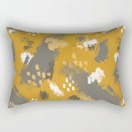 Painterly Brush Strokes in Mustard + Grey Rectangular Pillow