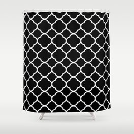 Black & White Moroccan Quatrefoil Design Shower Curtain