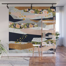 Collage of textured shapes and flowers Wall Mural
