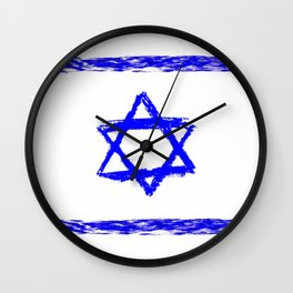 flag of israel 9- יִשְׂרָאֵל ,israeli,Herzl,Jerusalem,Hebrew,Judaism,jew,David,Salomon. Wall Clock
