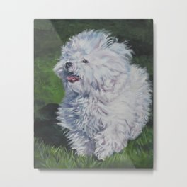 Bichon Bolognese dog art from an original painting by L.A.Shepard Metal Print