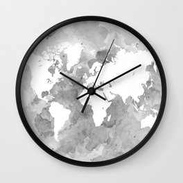 Design 49 Grayscale World Map Wall Clock
