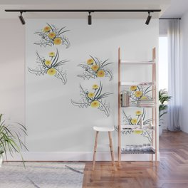 Bushes of yellow dandelions with large carved leaves Wall Mural