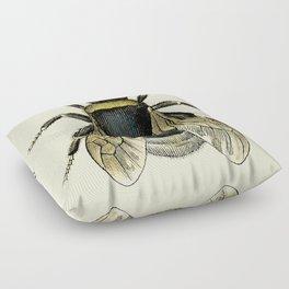 Vintage Bee Illustration Floor Pillow