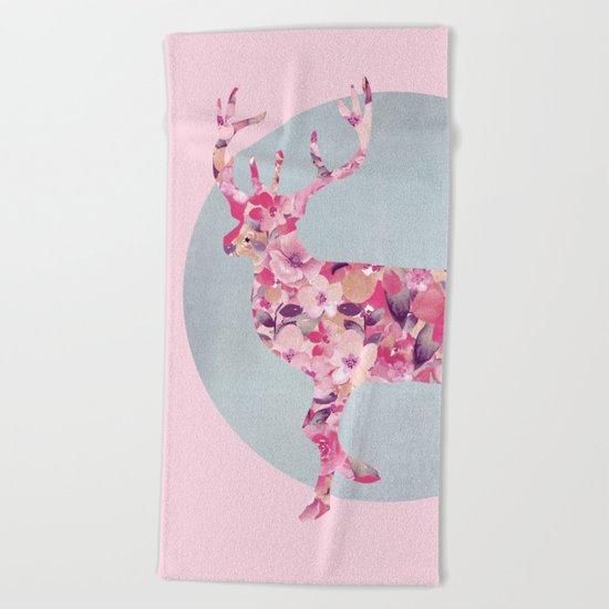 Flower Deer and circle pastel blue pink colors Beach Towel