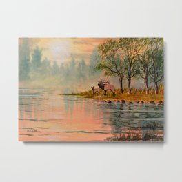 Elk Beside A misty River Metal Print