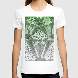 Indian wall Painting Mosaic Flowers - green T-shirt