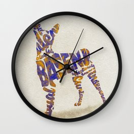 Basenji Dog Typography Art / Watercolor Painting Wall Clock
