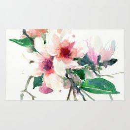 Magnolia Flowers, Pink Green floral design Rug