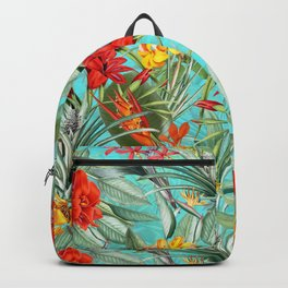 Vintage & Shabby Chic - Colorful Tropical Blue Garden Backpack