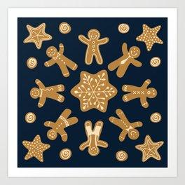 Gingerbread Christmas Snowflake Art Print