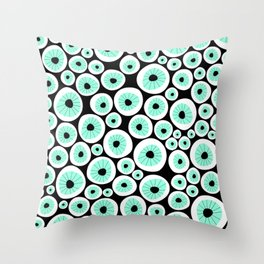 Eye C U | Clear | Black Throw Pillow