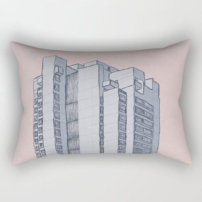 Brutalist Architecture Apartment Block Rectangular Pillow