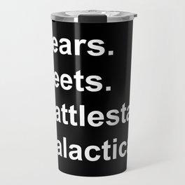 Bears Beets Battlestar Galactica (lowercase white) Travel Mug