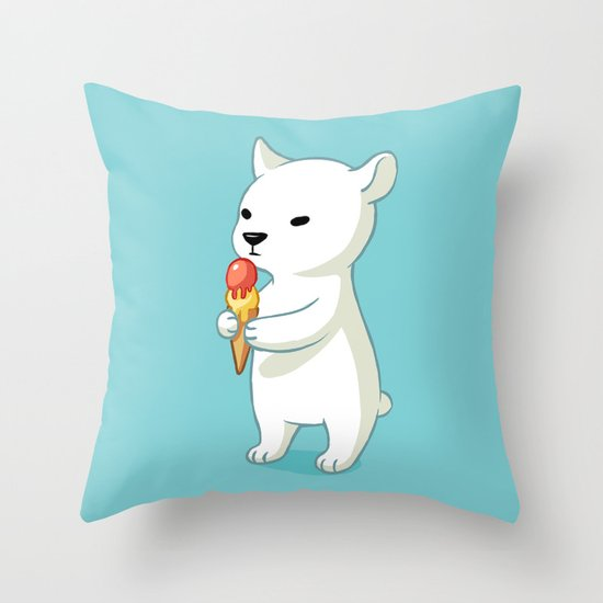 Polar Ice Cream Throw Pillow