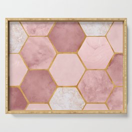 Pink and Gold Hexagon Print Serving Tray