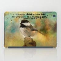 nietzsche iPad Cases featuring Chickadee Chaos by Ginkelmier Artworks
