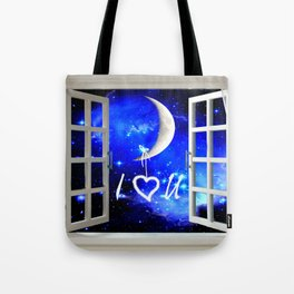 I Love You Heart Hanging from Moon Window Stars Bedroom Art A568 Tote Bag