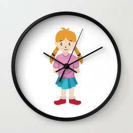 A Perfect Gift For Your Sibling Or Friend An Illustration Of A Simple Cute Little Girl T-shirt Wall Clock