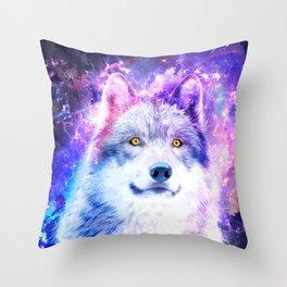 Cosmic Wolf Throw Pillow