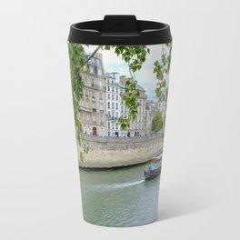 River Barge on Seine River in Paris France Travel Mug