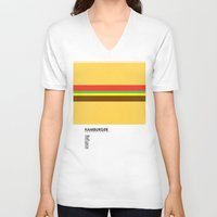 hamburger V-neck T-shirts featuring Pantone Food - Hamburger by Picomodi
