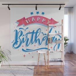 Happy Birthday elegant typography Wall Mural