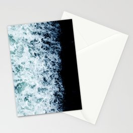 Emerald-Opal-Color Ocean Waves Enveloping Black Sand Beach Stationery Cards
