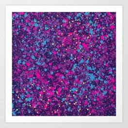 purple confetti splatter paint Art Print