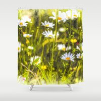 oil Shower Curtains featuring Chamomile Oil by David Pyatt