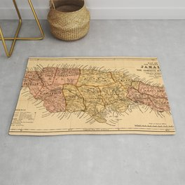 Map Of Jamaica 1893 Rug