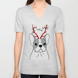 Christmas French Bulldog Design Unisex V-Neck