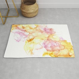 Wispy Pink and Yellow: Original Alcohol Ink Painting Rug