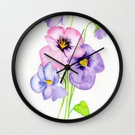 Pretty Pansies Wall Clock