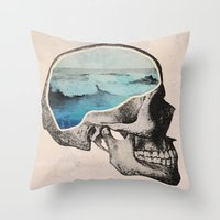 collage Throw Pillows featuring Brain Waves by Chase Kunz