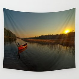 Red Canoe at South River Wall Tapestry