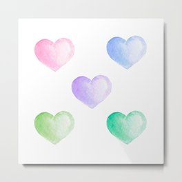 Valentine day sweet watercolor hearts Metal Print