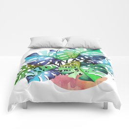 Watercolor Monstera Or One Fine Swiss Cheese Plant Comforters