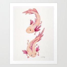 Mexican Axolotls Watercolor Art Print