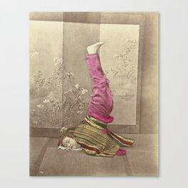 Japanese Woman Standing on her Head by Raimund von Stillfried Canvas Print